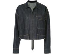 Cropped-Jeansjacke mit Reißverschluss