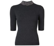 embellished neck knit T-shirt
