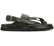 Pythonleder-Sandalen mit überkreuzten Riemen