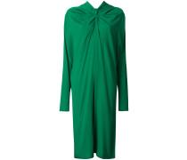 draped long-sleeved dress
