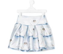 swan print ruffle skirt