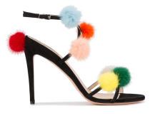 Sandalen mit bunten Pompons