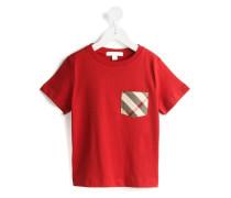 T-Shirt mit karierter Tasche