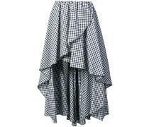 gingham print frilled asymmetric skirt
