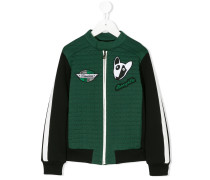 quilted panel embroidered patch jacket