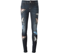 Skinny-Jeans mit Schmetterlings-Patches