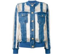 Jeansjacke mit semi-transparentem Einsatz