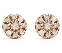 18kt Target Rotgoldohrringe mit Diamanten
