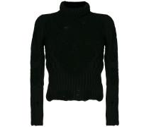 holey knit roll neck jumper