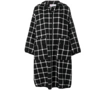hooded check coat