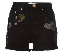 Birds of Paradise embroidered denim shorts