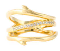 Vergoldeter 'Cherry Branch' Ring mit Diamanten