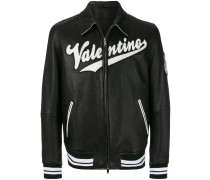 varsity leather bomber jacket