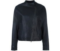 collarless asymmetric zip jacket