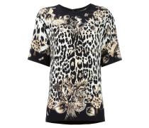 Seiden-T-Shirt mit Leoparden-Print