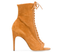 open toe lace-up boots