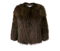 Cropped-Jacke mit Fuchspelzbesatz