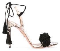Stiletto-Sandalen in Schlangenleder-Optik