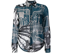 Jeanshemd mit Cartoon-Print
