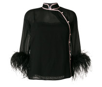 ostrich feather cuffed blouse