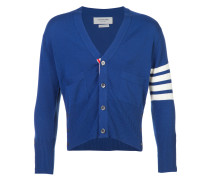 Short V-Neck Cardigan With 4-Bar Stripe In Blue Cashmere