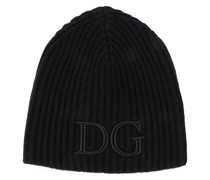 logo-embroidered ribbed beanie