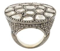 Sterlingsilberring mit Diamantenscheiben