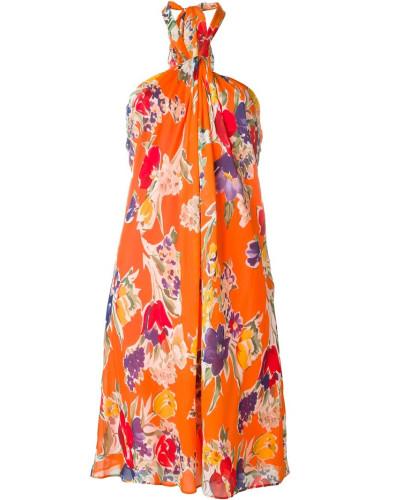 ralph lauren damen neckholder kleid mit blumen print reduziert. Black Bedroom Furniture Sets. Home Design Ideas