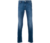 whiskered slim-fit jeans