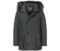 fur embellished parka coat