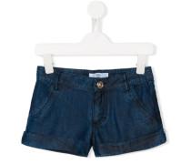 Jeans-Shorts mit geblümten Taschen