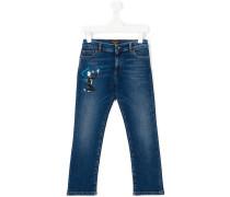 Jeans mit aufgesticktem Jazzmusiker