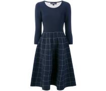 grid print flared dress