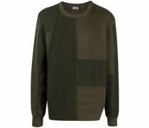Gerippter Patchwork-Pullover