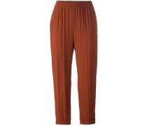 gathered straight leg trousers
