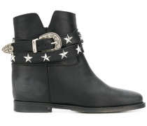 star stud buckle strap ankle boots