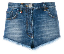 Jeans-Shorts mit Totenkopf-Knopf