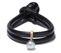 Wickelarmband mit Perle und 14kt Goldelement