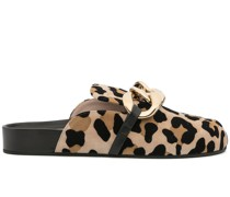 Chunky Chain-Embellished Leopard-Print Slides