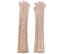 cable knit long gloves - women - Kaschmir - S