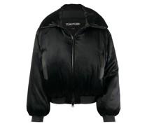padded satin bomber jacket