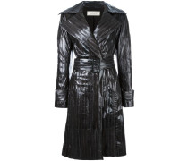 stitched detail leather coat