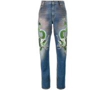 embroidered dragon jeans