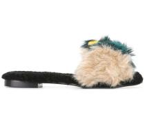 'Kitzbuhel' Slipper mit Shearling- und Kunstpelzbesatz
