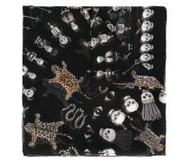 Seidenschal mit Leoparden- und Totenkopfmuster