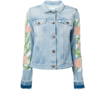 - embroidered tulip denim jacket - women