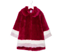 striped faux-fur coat