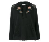 sequinned floral appliquéd hoodie