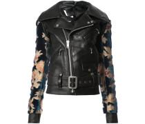 jacquard sleeve biker jacket