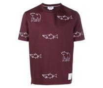 T-Shirt mit Fischstickerei
